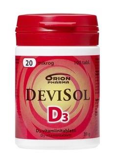 Devisol 20 mikrog. 100 tablettia 9,00 € (norm. 11,50 €)