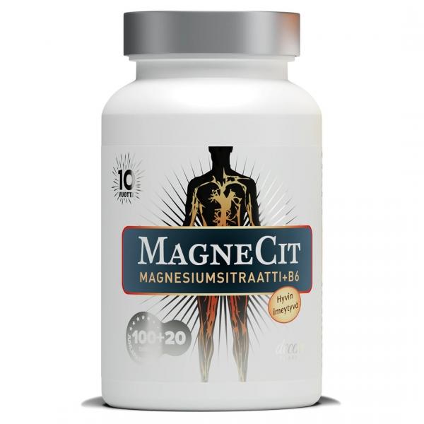 MagneCit nieltävä tai pureskeltava 100+20 tabl. kampanjapakkaus 10 € (norm. 13,98 €)