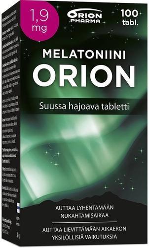 Melatoniini Orion 1,9 mg suussa hajoava tai nieltävä, 100 tabl. 21,90 € (norm. 25,50 €)