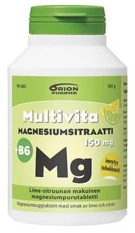 Multivita Magnesiumsitraatti + B6 90 purutabl lime-sitruuna 11,90 € (norm. 14,98 €)