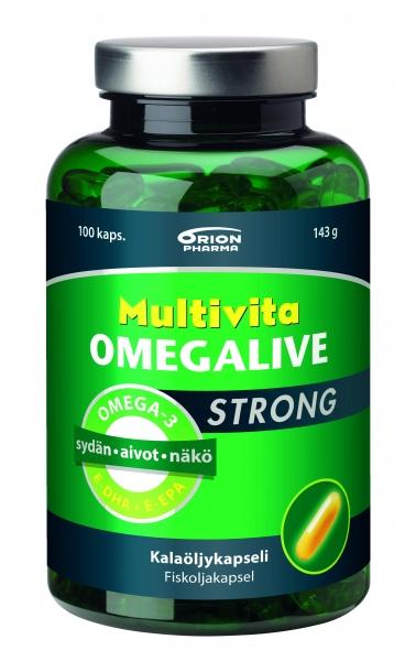 Multivita Omegalive Strong 100 kaps 18,50 € (norm. 21,60)