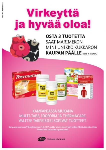 Osta 3 Multi-tabs, Idoform tai ThermaCare -tuotetta, saat kaupan päälle Marimekon kukkaron!