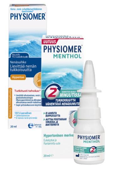 Physiomer Hyperton tai menthol spray 20 ml 7,90 € (norm. 9,26 €)