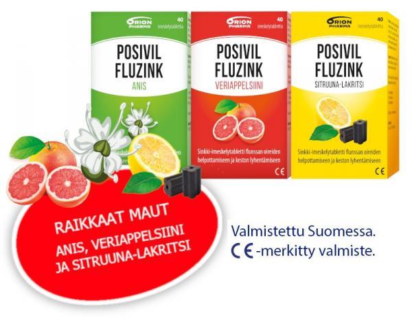 Posivil Fluzink, 40 tabl. 3 eri makua 9,90 € (norm. 12,39 €)