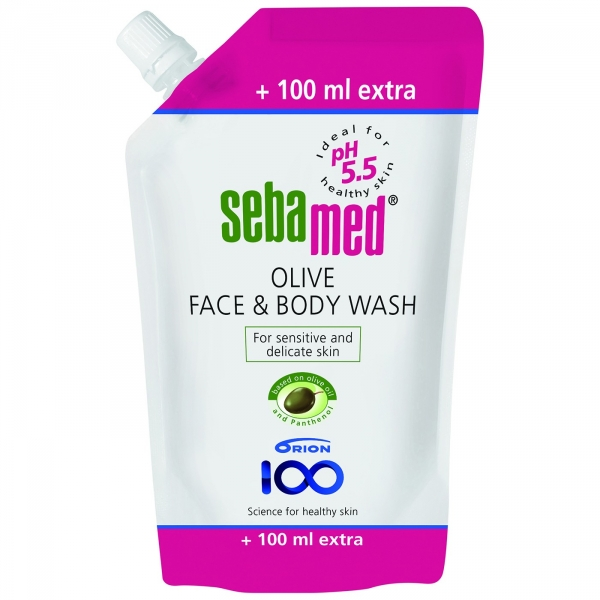 Sebamed Face and Body Wash tai Olive täyttöpussi 1100 ml 14,50 € (norm. 19,95 €)